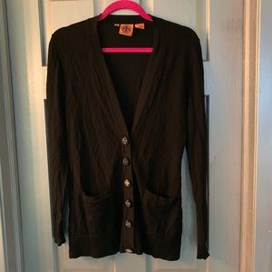 Tory Burch Black Merino Wool Cardigan Sweater S